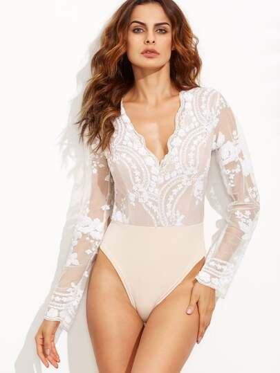 Scalloped V Neck Sequins Embroidered Sheer Bodysuit