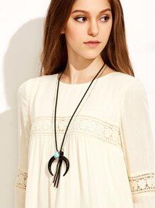 Black Tassel Turquoise Ox Horn Pendant Necklace