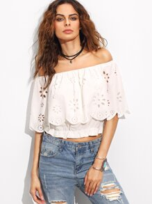 White Off The Shoulder Hollow Ruffle Crop Blouse