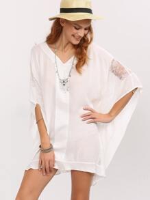 V-Neck Lace Insert Poncho Dress - White