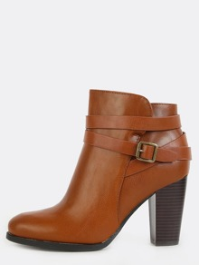 Strappy Round Toe Ankle Boots CHESTNUT