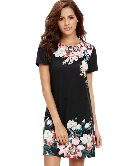 Round Neck Floral Print Shift Dress