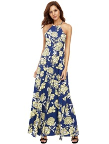 Halter Neck Floral Print Maxi Dress