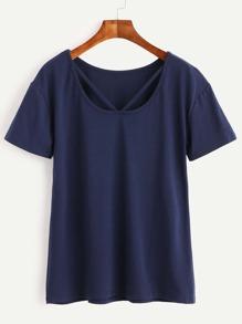 Blue Cut Out Neck T-shirt