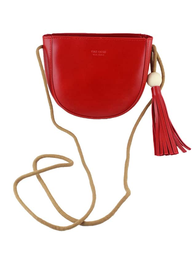 Red Vintage Style PU Leather Small Handbag For Ladies Image