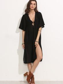 Black Buttoned Front Slit Chiffon Kimono