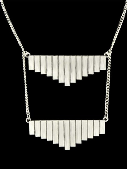 Antique Silver Color Geometric Long Pendant Necklace