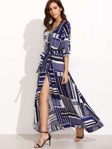 Multicolor Print V Neck Tie Waist Maxi Dress