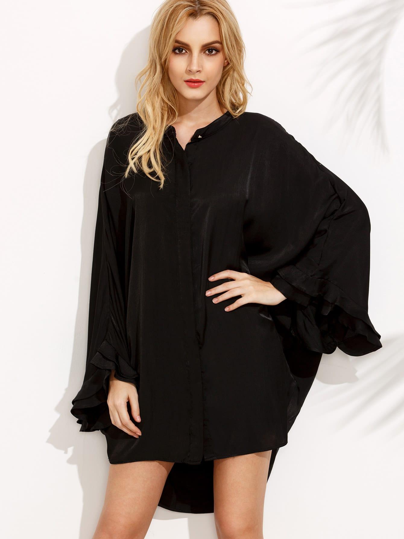 Black High Low Caftan Sleeve Shift DressBlack High Low Caftan Sleeve Shift Dress<br><br>color: None<br>size: L,M,S