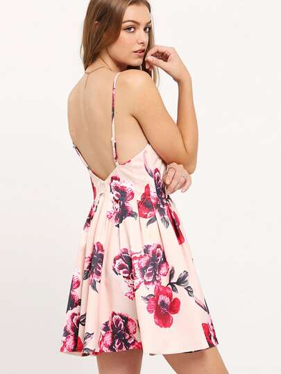 Multicolour Spaghetti Strap Backless Floral Print Flare Dress