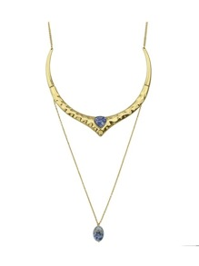 Tibetan Style Gold Color Rhinestone Long Chain Collar Necklace