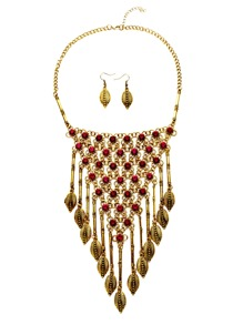 Antique Gold Leaf Fringe Vintage Statement Jewelry Set