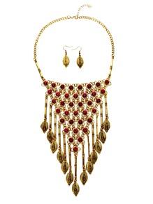 Antique Gold Leaf Fringe Vintage Statement Jewelry Set