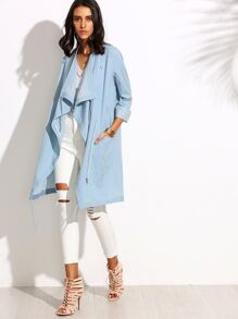 Blue Lapel Pocket Split Long Sleeve Outerwear