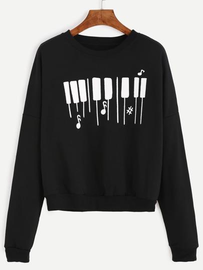 Piano Keyboard Print Drop Shoulder Sweatshirt