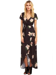 Black Floral Print Short Sleeve V Neck Split Dress