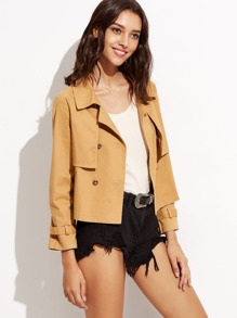 Khaki Ruffle Front Crop Jacket