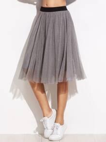 Sheer Mesh Contrast Elastic Waist Skirt