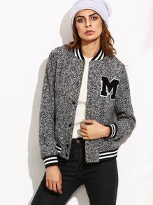 Striped Trim Marled Knit Baseball Jacket With Letter Patch