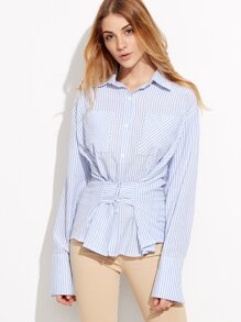 Blue Vertical Striped Shirt With Hook and Eye Detail