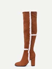 Botas altas faux suede punto a la rodilla - camello