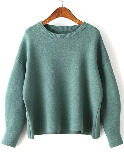 Green Round Neck Ribbed Trim Drop Shoulder Knitwear