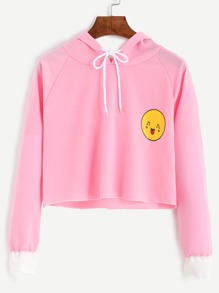 Pink Smile Print Contrast Cuff Drawstring Hooded Sweatshirt