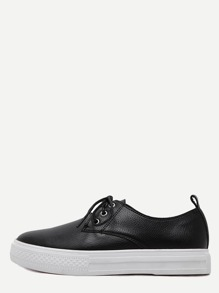 Black Round Toe Pebbled Lace Up Sneakers
