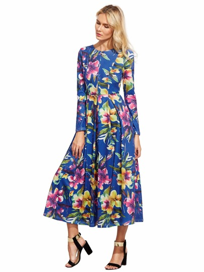 Flowery Floral Pleated Dress