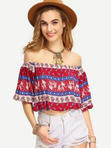 Multicolor Off The Shoulder Crop Blouse
