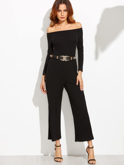 Black Off The Shoulder Wide Leg Jumpsuit