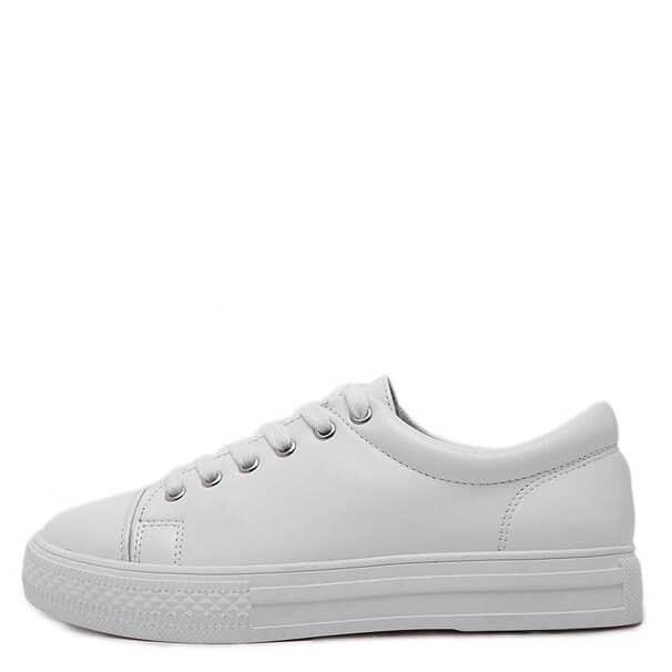 Zapatillas de deporte de puntera redonda con cordón - blanco