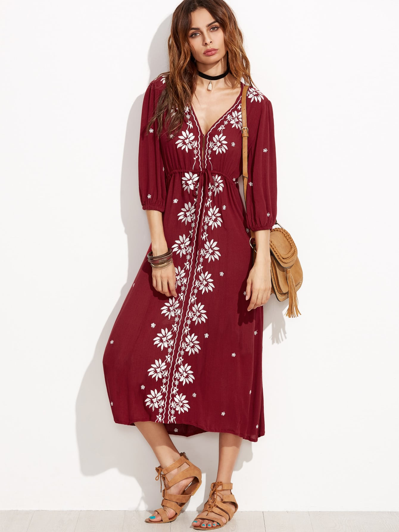 Фото Drawstring Waist Embroidered Peasant Dress. Купить с доставкой