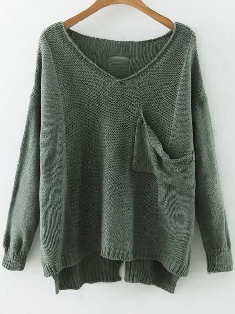 Green V Neck Drop Shoulder Dip Hem Sweater With Pocket