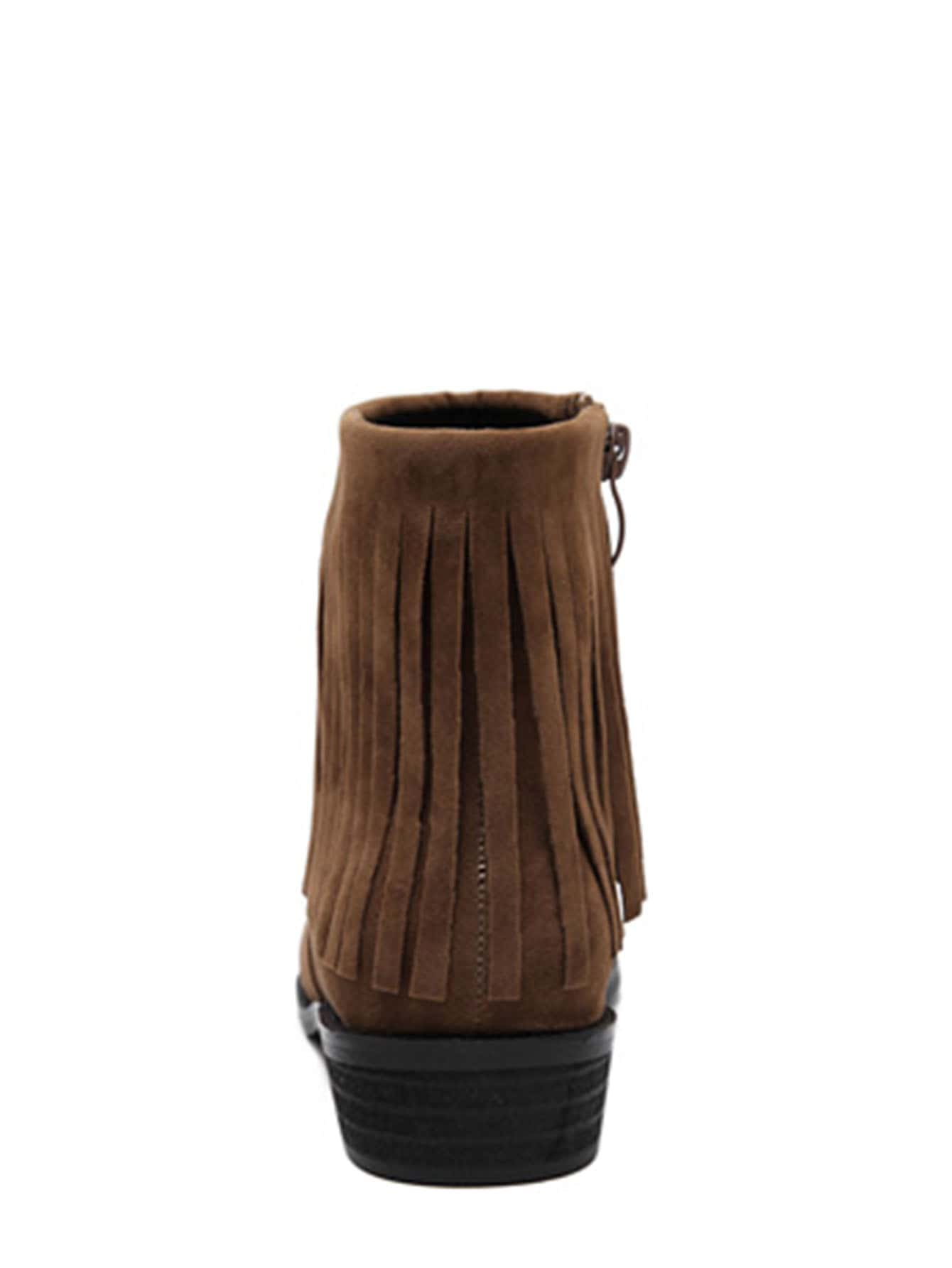 brown faux suede tassel ankle boots shein sheinside