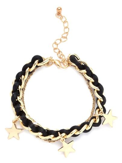 Black Braided Star Pendant Charm Bracelet