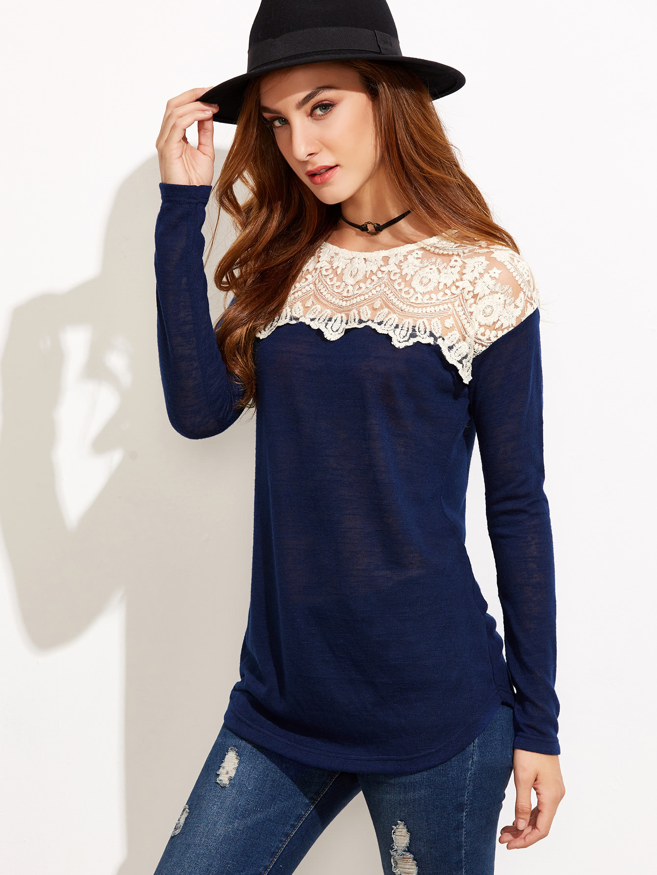 Navy Contrast Embroidered Mesh Neck T-shirtNavy Contrast Embroidered Mesh Neck T-shirt<br><br>color: Navy<br>size: L,M,S,XS