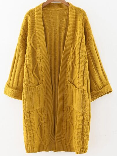 Yellow Cable Knit Open Front Long Sweater Coat