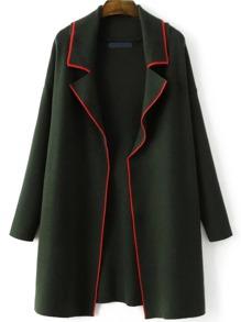 Veste pull ouvert contrasté - vert foncé
