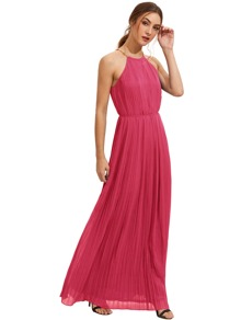 Hot Pink Sleeveless Halterneck Pleated Infinity Maxi Dress