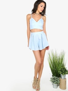 Light Blue Crisscross Cami Top With Shorts