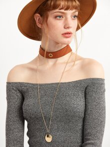 Brown Geometric Pendant Wide Choker Necklace