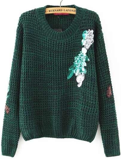 Green Sequin Detail Round Neck Sweater