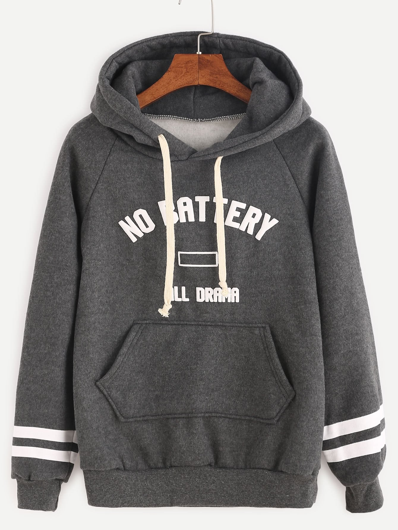 Dark Grey Varsity Print Raglan Sleeve Sweatshirt two tone raglan sleeve sweatshirt