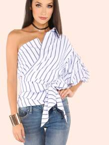 Striped One Shoulder Wrap Around Button Down Top