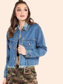 Frayed Hem Cropped Denim Jacket DENIM