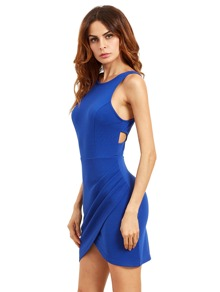 Blue Cutaway Sleeveless Wraparound Rouched Bodycon Dress