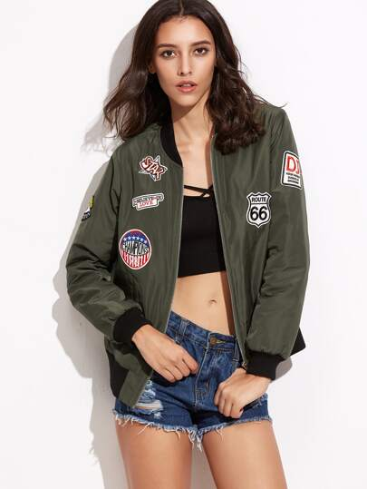 Contrast Ribbed Trim Patched Bomber Jacket