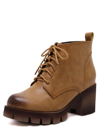 Brown PU Lace Up Cork Heel Ankle Boots