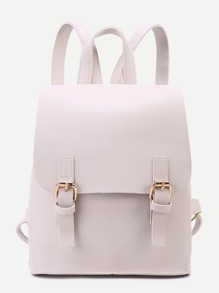 Apricot PU Double Buckle Flap Backpack